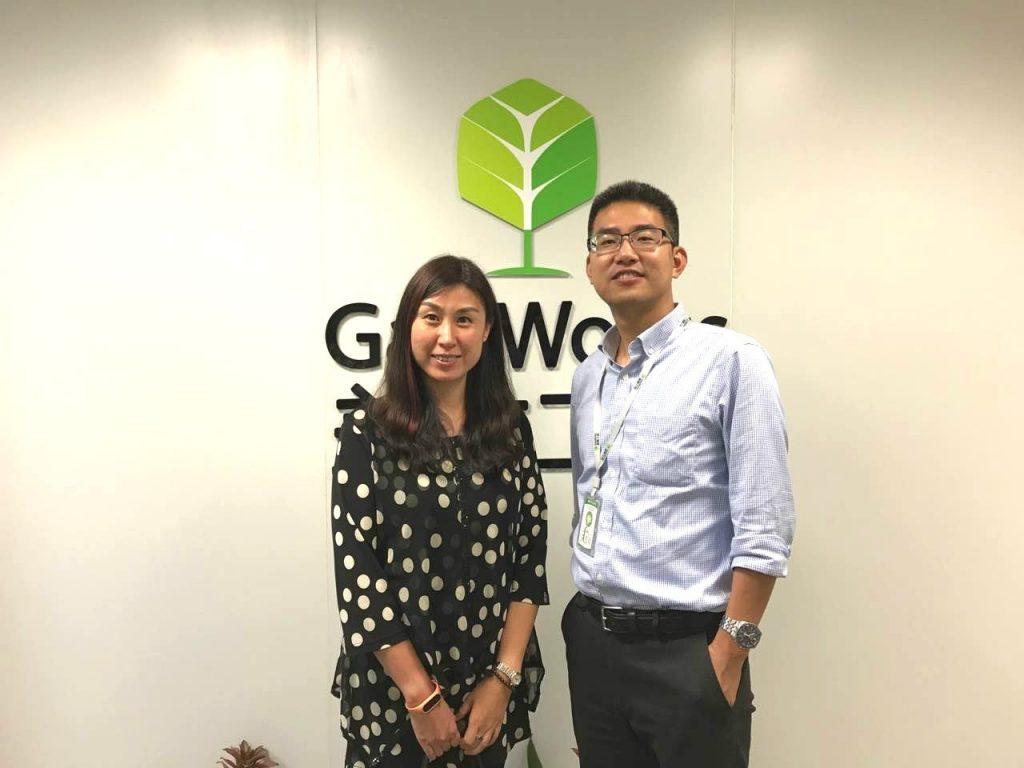 SAP合作伙伴业务发展部总经理崔力红女士与盖雅工场联合创始人兼CEO章新波先生合照